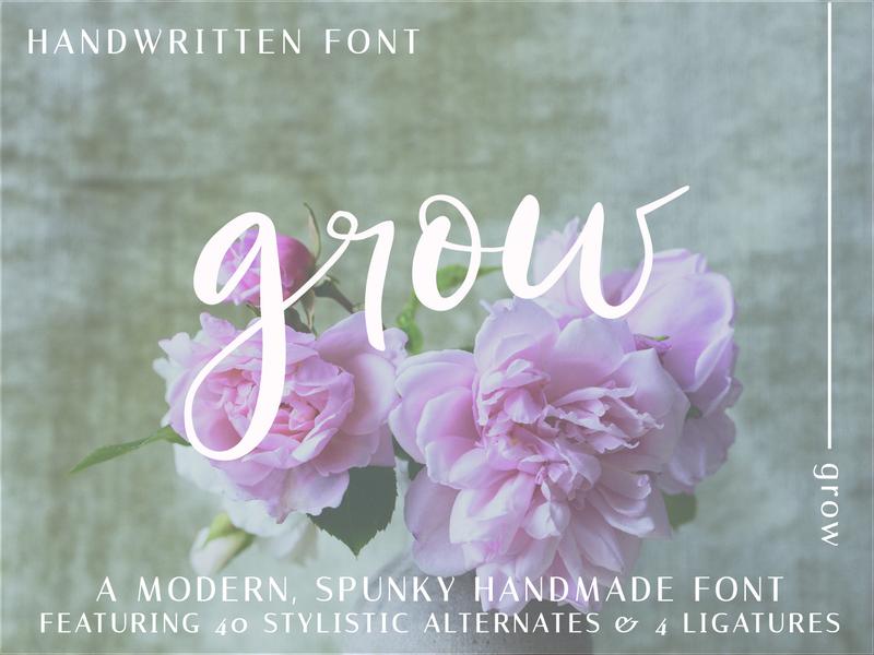 Grow Script script font modern calligraphy handlettering font design