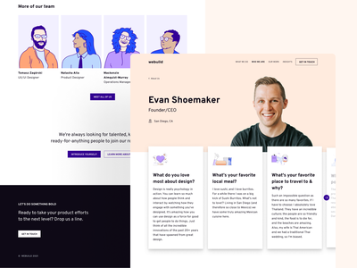 Who We Are Page Design about us illustration branding ui design