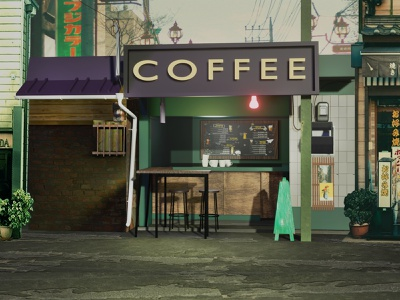 Coffee Shop Blender Modeling redesign vector illustrator design illustration shop building modeling blender3d blender 3d