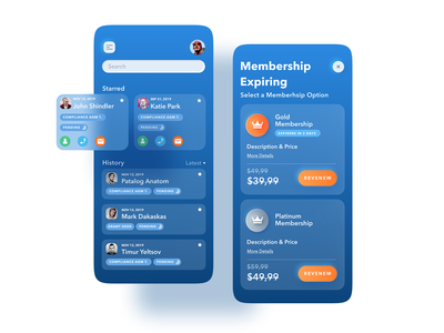 Membership screens