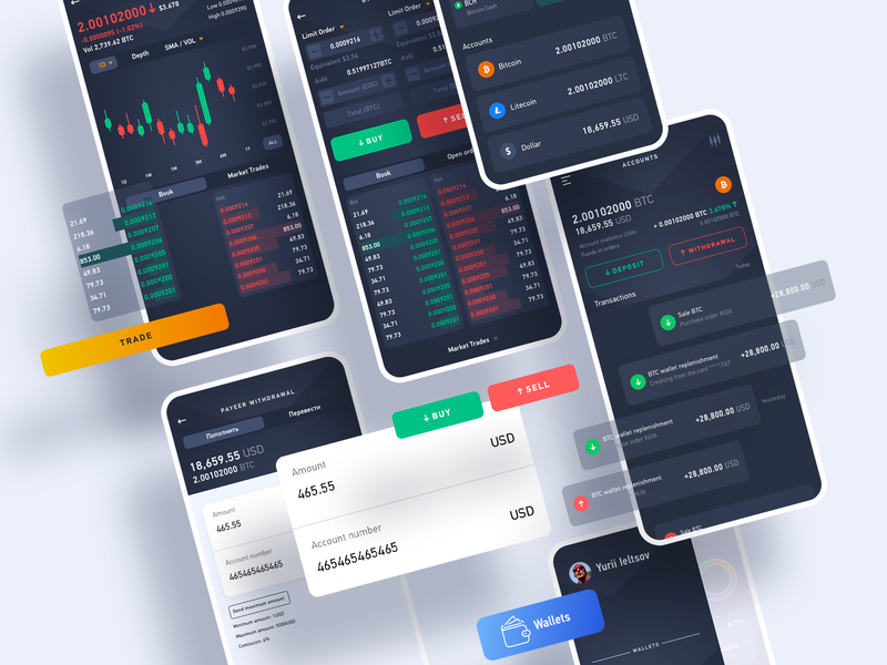 Crypto trade sborka crypto trading crypto exchange crypto wallet crypto currency crypto mobile app design mobile app user experience simple solution interface clean design services ui ux