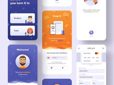 Ask Albert sborka [animation] illustration mobile app design mobile app product illustration education app simple solution user experience interface clean design services ui ux