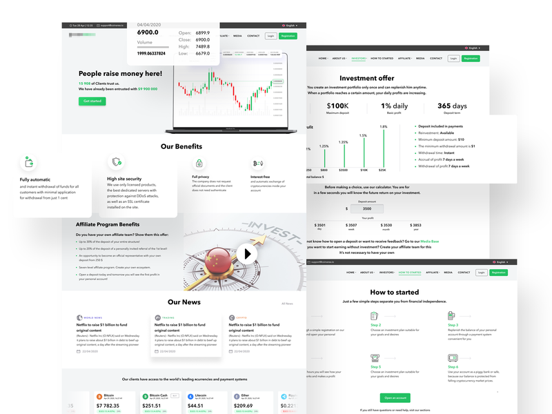 Cryptoar homepage bitcoin services trading platform finance app cryptotrading crypto exchange cryptocurrency icons user experience simple solution clean design services ui ux