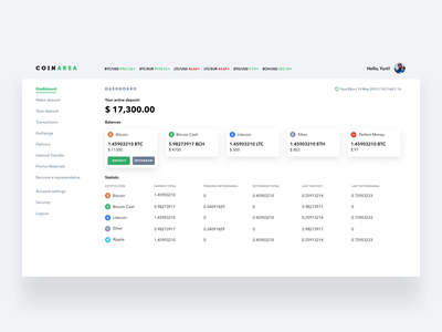 Trading platform Coinarea | Dashboard dashboard trading platform blockchain finance app fintech app crypto exchange cryptocurrency crypto wallet user experience simple solution clean design services ui ux