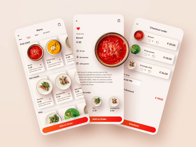 Rest app Order motion design interaction food app restaurant app mobile app design mobile app user experience simple solution clean design services ui ux