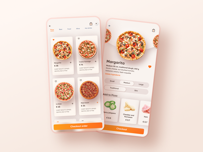 Pizza order dashboard food delivery app pizza constructor restaurant order food delivery app mobile app design mobile app user experience clean design services ui ux