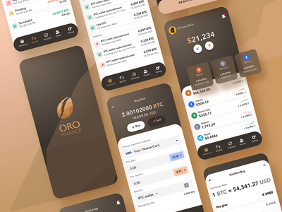 ORO finance all bitcoin services crypto trading crypto wallet crypto currency mobile app mobile app design dashboard interface simple solution user experience clean design services ui ux