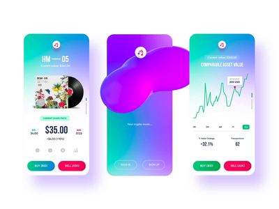 Music market app crypto currency blockchain nftart nft crypto mobile app mobile app design simple solution user experience clean design services ui ux