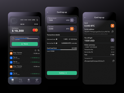Crypton dark fintech app finance app mobile app crypto currency crypto exchange crypto trading crypto wallet dashboard mobile app design user experience services ui ux