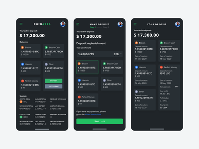 Coinarea black finance app fintech app bitcoin wallet blockchain dashboard crypto exchange crypto currency crypto trading crypto wallet mobile app design user experience services ui ux