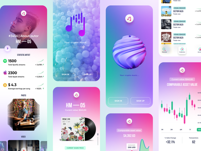 Crypto music NFT design mobile app mobile app nftart crypto tokens etherum nft crypto user experience clean design services ui ux