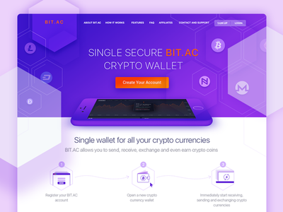 Bitac lend web design material design interface ux ui landing bitcoin services change currency crypto