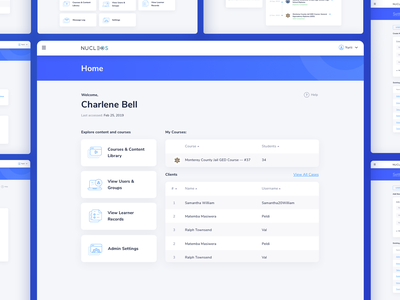 Nucleos Home education app design interface design desktop application desktop design dashboard design data visulization cms crm icons dashboard web design user experience ui ux