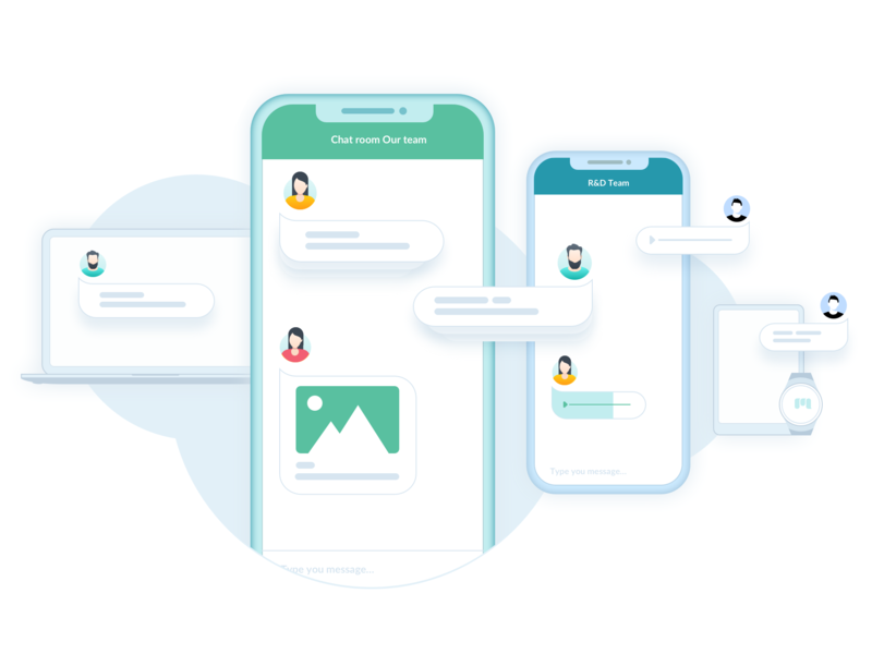 Messagenius illustration macbookpro iphone icons web design product illustration branding sketchapp services clean design simple solution vector illustration