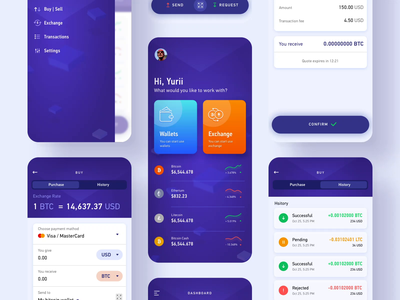 Crypto exchange wallet mobile interaction investment dashboard ui animation interaction ui ux ethereum bitcoin crypto wallet crypto exchange crypto currency mobile app design finance fintech