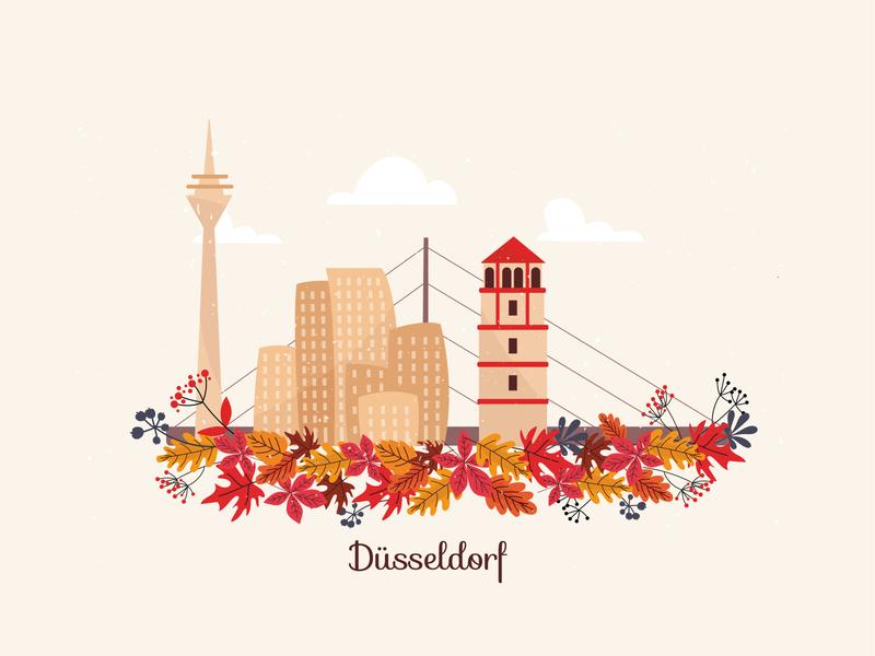 Düsseldorf leaves bridge city düsseldorf deutschland germany autumn floral colors creativemind adobe graphic vector illustrator illustration