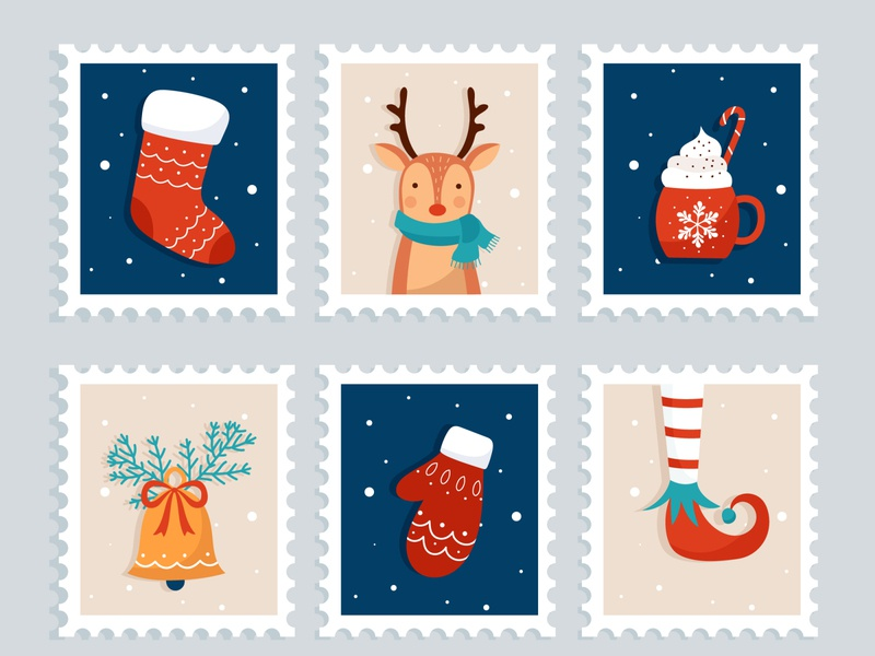 Christmas stamp collection blue deer winter vector illustration collection stamp christmas