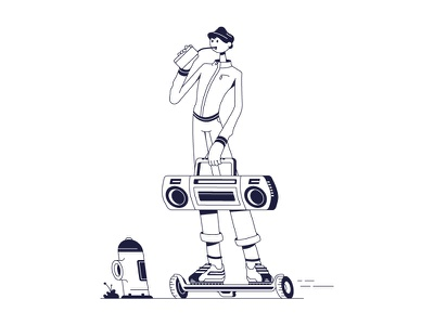 Summer vibes characterdesign cool dude music skating hoverboard line character 2d flat vector design illustration