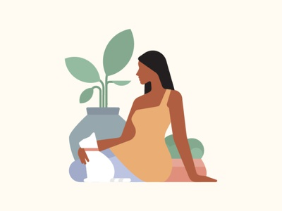 Serenity covid19 characterdesign cat plants stress peace covid character 2d flat vector design illustration