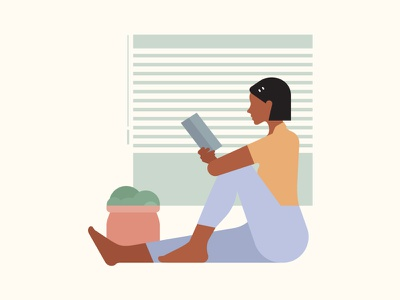 Serenity home reading plants book peace calm hope covid character 2d flat vector design illustration