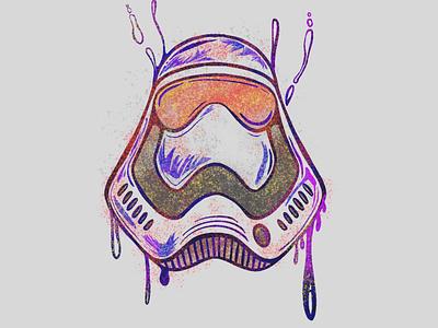 Storm trooper character design fanart fan caricature stromtrooper starwars line character icon 2d flat vector design illustration