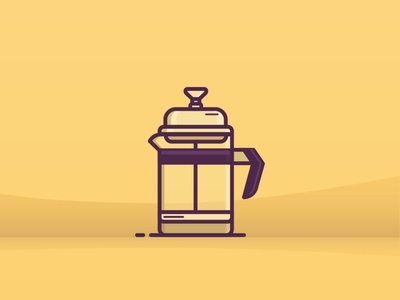 Coffee Plunger website coffee office ux ui line icon 2d flat vector design illustration