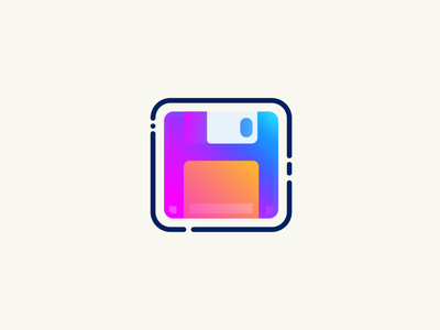 Retro Floppy Disk save floppydisk website logo ux ui line icon flat vector design illustration