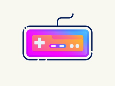 Retro Gamepad logo retro logo gamepad retro ux ui line icon 2d flat vector design illustration