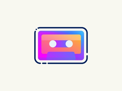 Retro Cassette website retro logo retro cassette ux ui line icon 2d vector design illustration