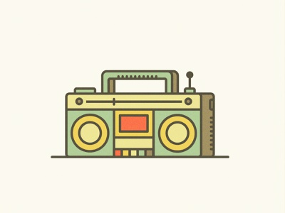 Boombox retro song radio boombox music ux ui line icon flat vector design illustration