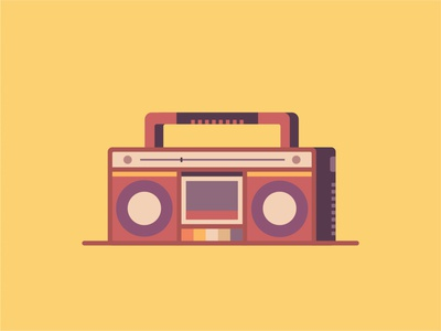 Boombox website boombox music ux ui line icon flat vector design illustration