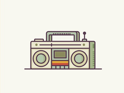 Boombox retro boombox music website ux ui line icon 2d flat vector design illustration