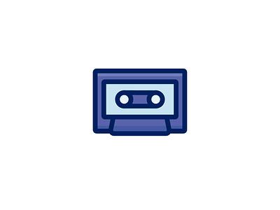 Cassette music cassette retro ux ui line icon 2d flat vector design illustration