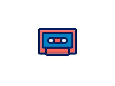 Cassette retro music cassette ux ui line character icon 2d flat vector design illustration