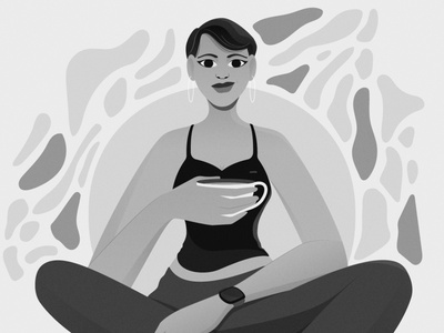 Contemplation Series remote work coffee characterdesign monotone character 2d flat vector design illustration