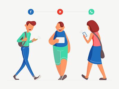 Phone Addiction design character illustration flat editorial phone millennial whatsapp youtube facebook media social