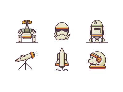Retro Style Space Icon Set