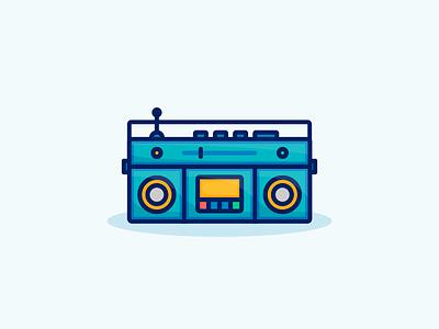 Retro Boombox retro recording radio music line illustration icon fm flat entertainment cassette boombox
