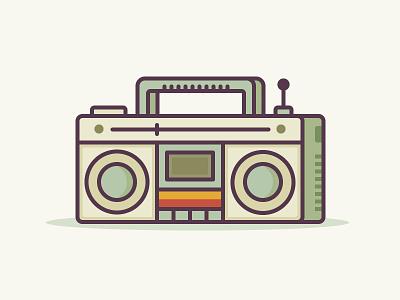 Retro Radio ui vector retro music line illustration icon fm flat 2d cassette radio