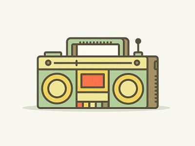 Radio Retro2 vector ui retro radio music line illustration icon fm flat cassette 2d