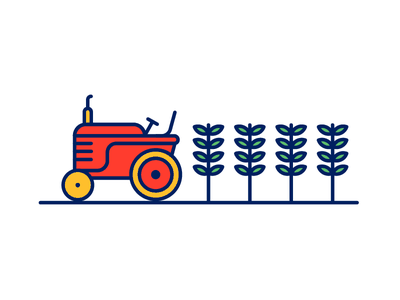 Agriculture line vector icon farmer illustration tractor flat design crops agriculture farming 2d