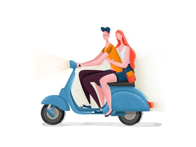 Ridin On Love wife vector scooter romantic love illustration hugs flat design ride character 2d