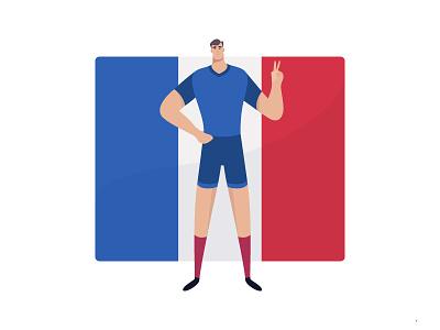 Well Done France vector soccer icon line illustration goal geometry france flat design worldcup 2d