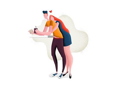 Coffee & Hugs wife love couple people hugs coffee character 2d flat vector design illustration