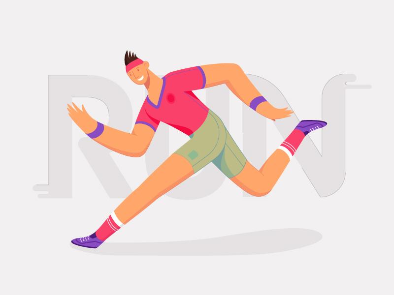 It's Monday!!! Run.... dude sport chase deadline office fitness fit run character 2d flat vector design illustration