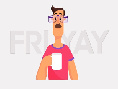 Fri Yay friday coffee office character 2d flat vector design illustration