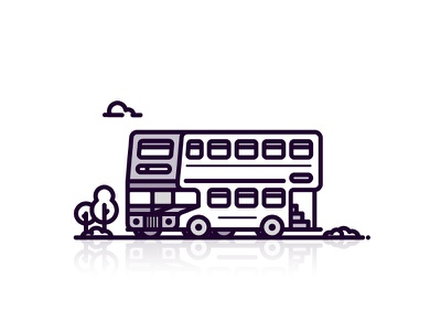 Double-decker Bus transport red red bus memory childhood travel double decker bus line icon 2d flat vector design illustration