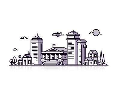 Cityscape city cityscape building apartment home work line icon 2d flat vector design illustration