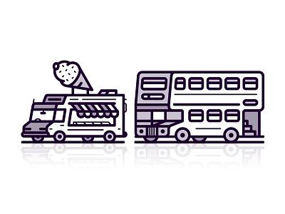 Mean Machines retro transport bus truck icecream coffee line icon 2d flat vector design illustration