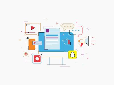 Social Media Marketing text chat social network snapchat twitter facebook socialmedia ux ui line icon 2d flat vector design illustration